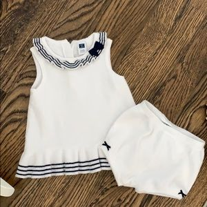 Janie and jack navy and white knit matching set